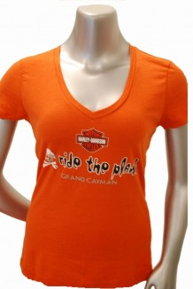 Ride the Plank V-neck T-shirt - Orange